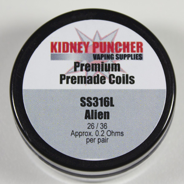 KP Premade SS316L Aliens & Advanced Aliens Coils (Alien Framed Staple 28/.4/36 .1ohms 3mm-ID 6-Wrap)