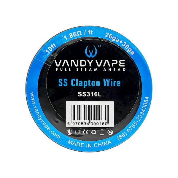 Vandyvape Resistance Wire Clapton SS316L Wire 26ga+30ga - 10FT