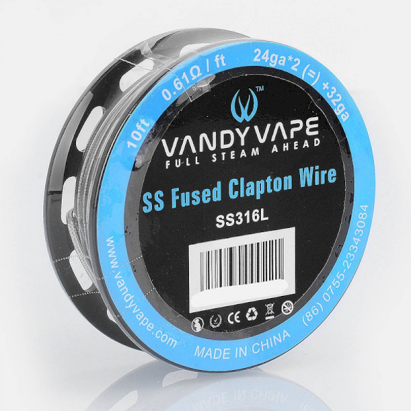 Vandyvape Resistance Wire Fused Clapton SS316L Wire 24ga*2 (=)+32ga - 10FT
