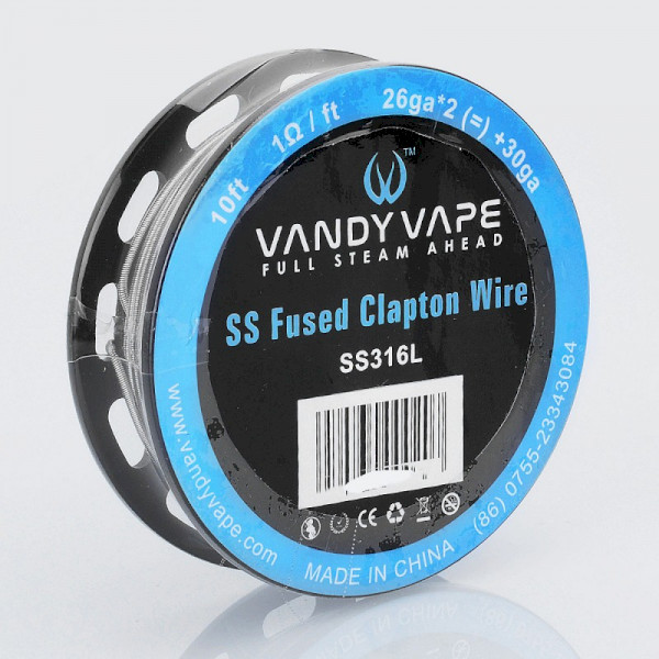 Vandyvape Resistance Wire Fused Clapton SS316L Wire 26GA*2(=)+30GA  - 10FT