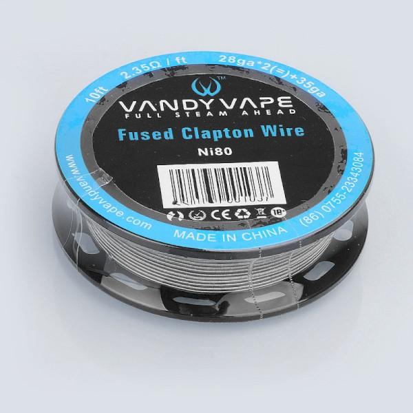 Vandyvape Resistance Clapton Ni80 Vape Wire :28GA x2(=)+35GA (Ni80 Fused Clapton) - 10FT