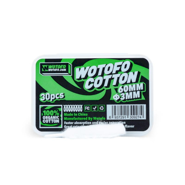 Wotofo Agleted Organic Cotton 3mm - 30 Pack